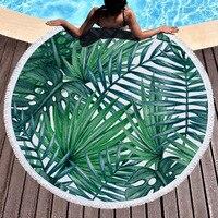Tropical plants Tassel Mandala Tapestry Boho Round Beach Towel Toalla Sunblock Blanket Bohemian Yoga Mat Big Area tapestry 150cm