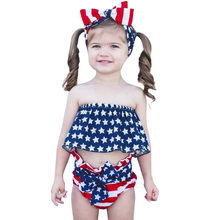 (3M-24M) Infant Baby Sleeveless Open Shoulder Independence Day Star Print Navel Tube Top+Bow Striped Shorts+Hair Strap Set #LR1(China)