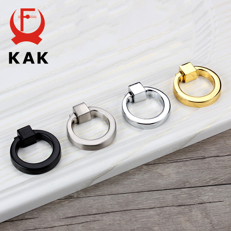 KAK 43mm Circle Handles Color Gold Silver Black Ring Zinc Alloy Door Handles Pulls Cabinet Drawer Knobs For Furniture Hardware furniture drawer handles wardrobe door handle and knobs cabinet kitchen hardware pull gold silver long hole spacing c c 96 224mm