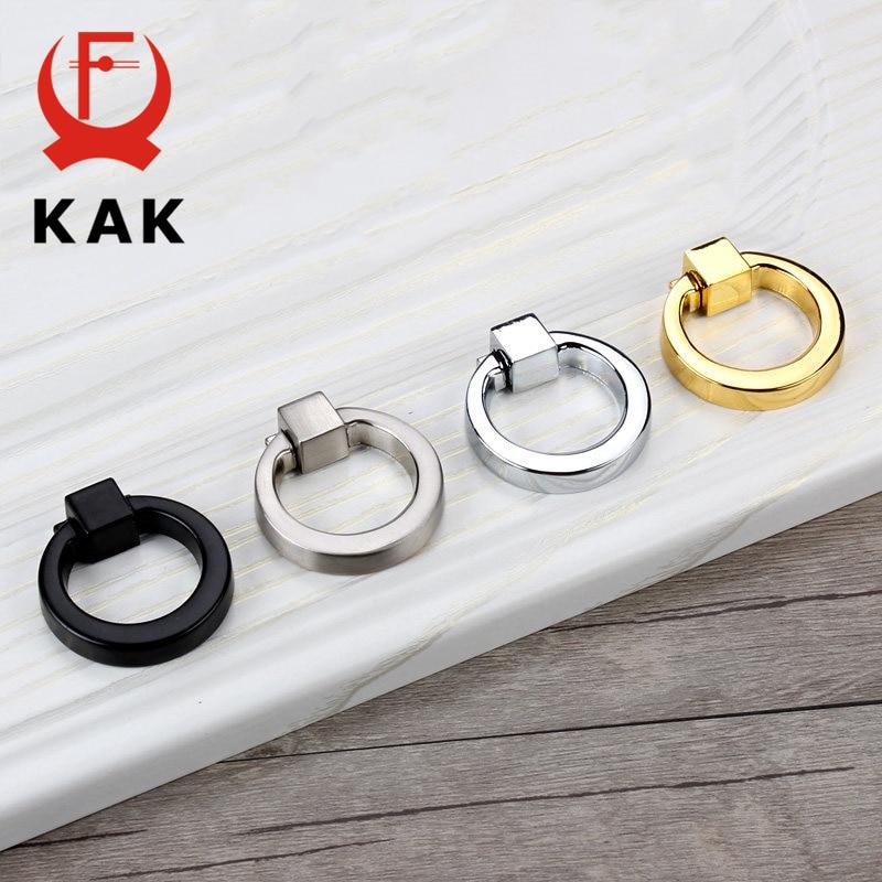 KAK 43mm Circle Handles Color Gold Silver Black Ring Zinc Alloy Door Handles Pulls Cabinet Drawer Knobs For Furniture Hardware