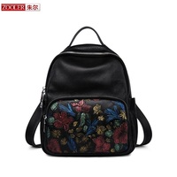 ZOOLER 2018 Special Cowhide Bag Embossing Women Leather Backpack Real Leather Backpack School Girl Fashion Stylish