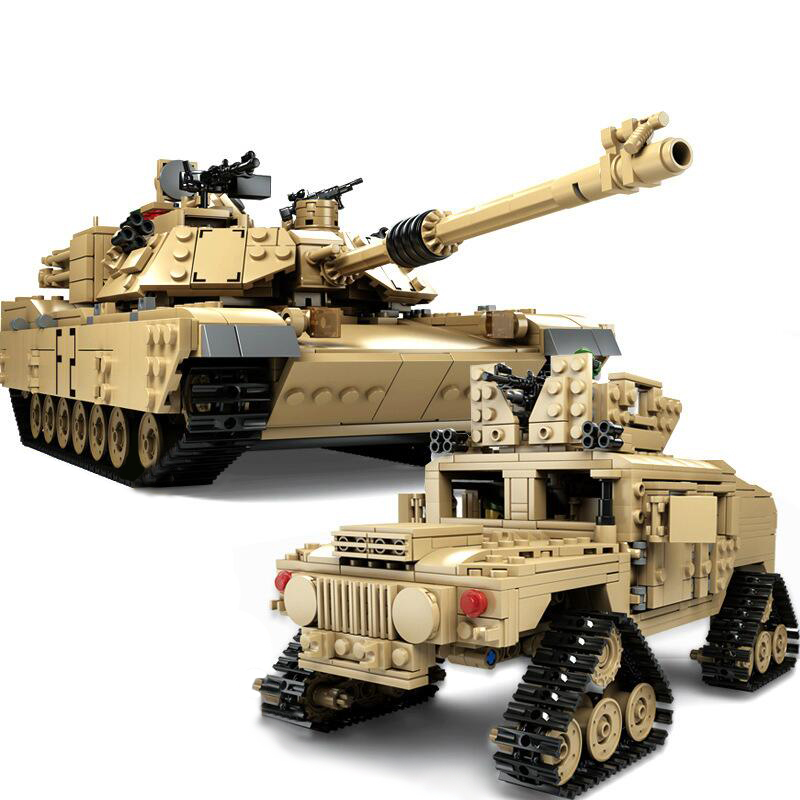 Kazi Military M1A2 Tank 1463pcs Bricks Abrams Main Battle Tank Building Block Sets Models 2in1 Toys