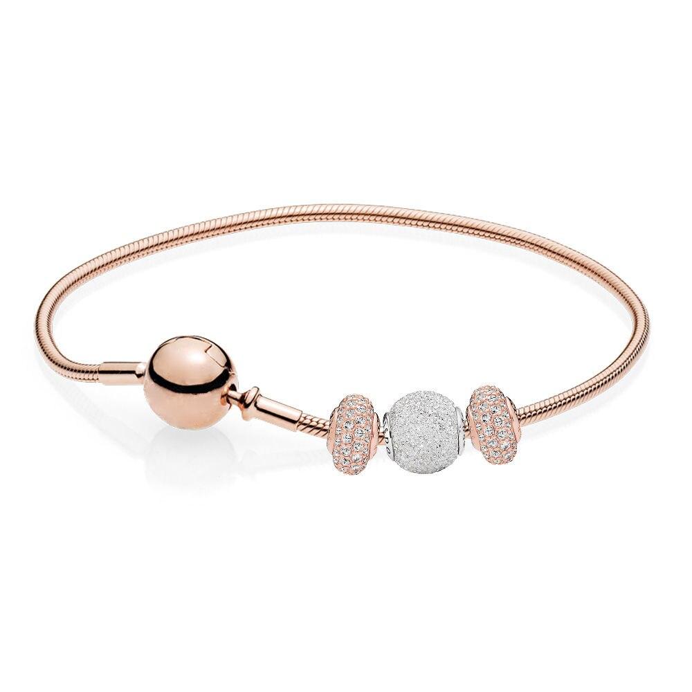 Nouveau 100% 925 bijoux en argent Sterling nouveau Bracelet de sagesse et de confiance coffret en or Rose série ESSENCE
