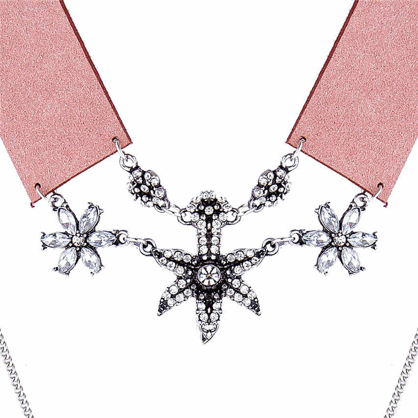 Ahmed Jewelry New Arrival ZA Fashion Leather Rope Crystal Flower Rhinestones Double Chain Collar Choker Necklaces & Pendants