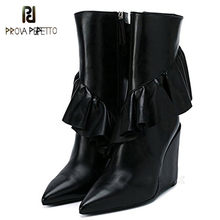 Prova Perfetto Mode Geplooide Ruches Enkellaarsjes Faux Leather Runway Chic Puntschoen Vrouwen Booties Zapatos Mujer Dames Schoenen(China)