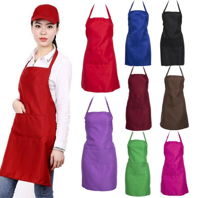 2019 מוצק גברים ליידי אישה סינר בית מטבח שף סינרי מסעדת בישול אפיית שמלת אופנה סינר משלוח חינם
