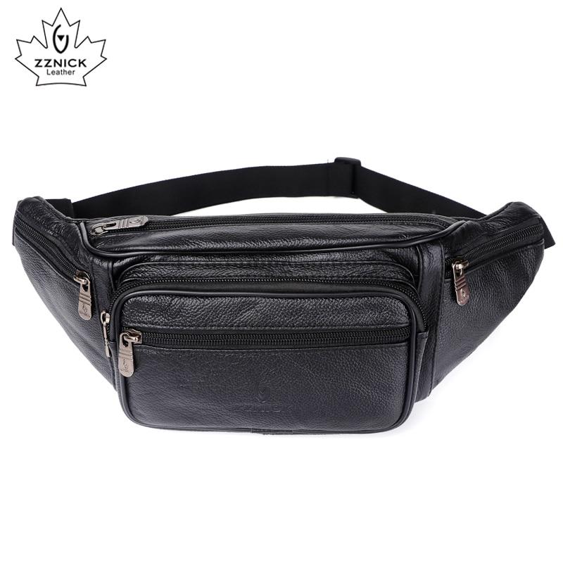 Genuine Leather Waist Bag men Waist Pack Waist Bag Funny Pack Belt Bag Men Chain Waist Bag For Phone Pouch Bolso ZZNICK цена 2017