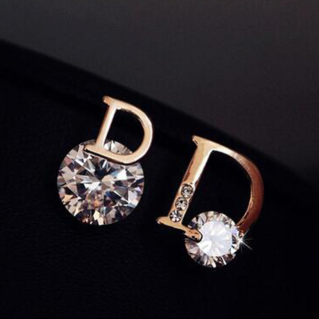 Fashion Simple Exquisite Zircon Earrings Lady Cute Crystal Stud Earrings 18K Gold Plated Jewelry For Girls XY-E178