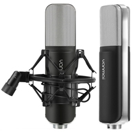 HAWEEL Professional Game Condenser Sound Recording Microphone with Holder Compatible with PC and Mac for Live Broadcast Show etc