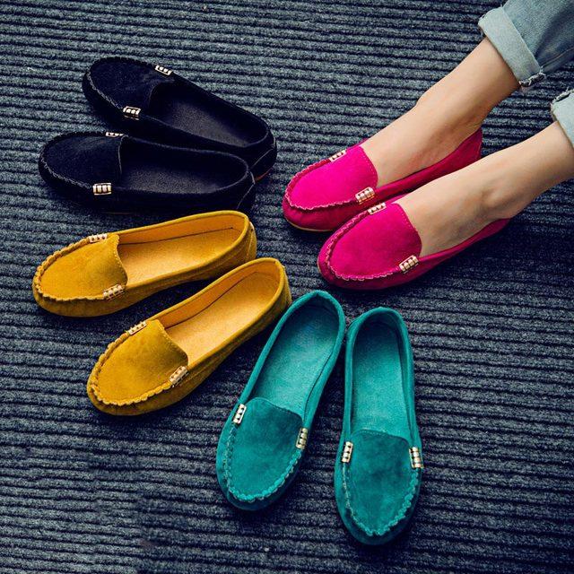 נשים דירות זמש צבעים בוהקים ופרס להחליק על מזדמן שטוח נעלי רך בלט שטוח אביב מוקסינים רדוד גבירותיי נעלי Puls גודל
