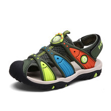 Kids Summer boys Sandals Size 24-38 Toddler & Big Boys Beach Shoes Closed Toe Rubber Casual Footwear Sandals Flat Shoes 2017 summer girls sandals boys sandals kids casual flat shoes for children footwear candy colors