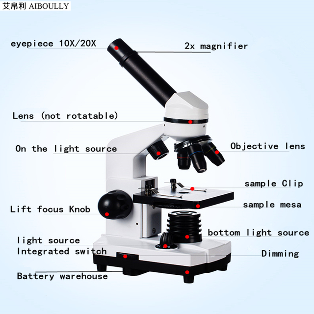 AIBOULLY Biological Microscope Zoom 1600 times Animal and Plant Blood Analysis Instrument Student Microscope Science experiment