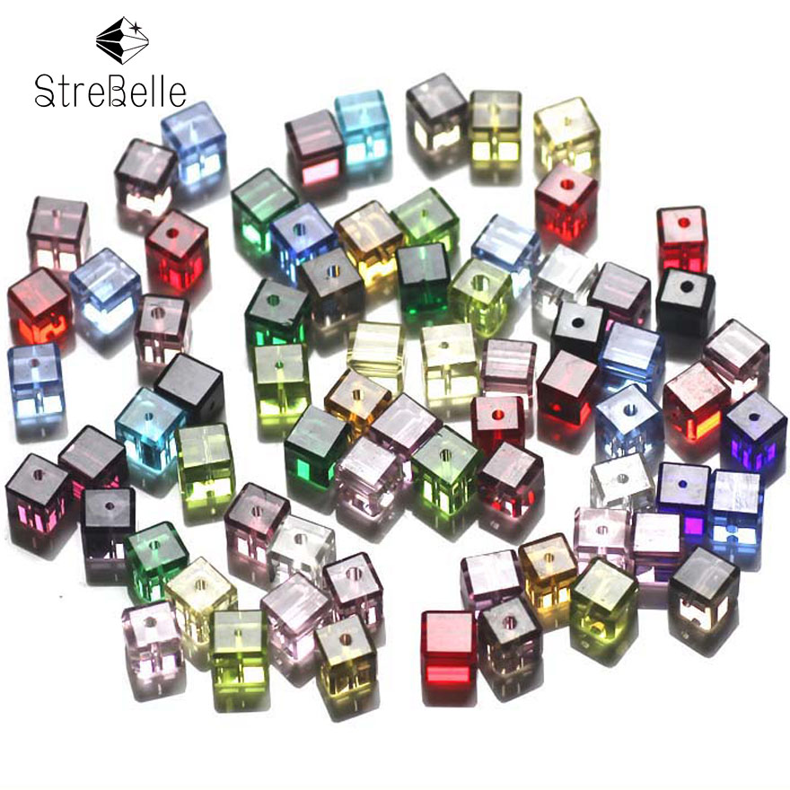 Wholesale 100PCS CUBE Crystal glass Loose Spacer BEADS 6mm AP6 Factory Sales Multi Color Cube Beads in Beads from Jewelry Accessories