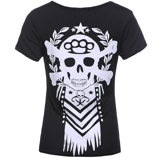 2018 Summer T-Shirt Skull Print Causal Women Short Sleeve V-Neck Punk Style Tee Tops Fashion Plus Size