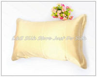 Free shipping/100% silk pillowcase/2 sides silk/pillow case/cover/envelope back/plain dyed/silk bedding/champaign gold/#ls1503 1