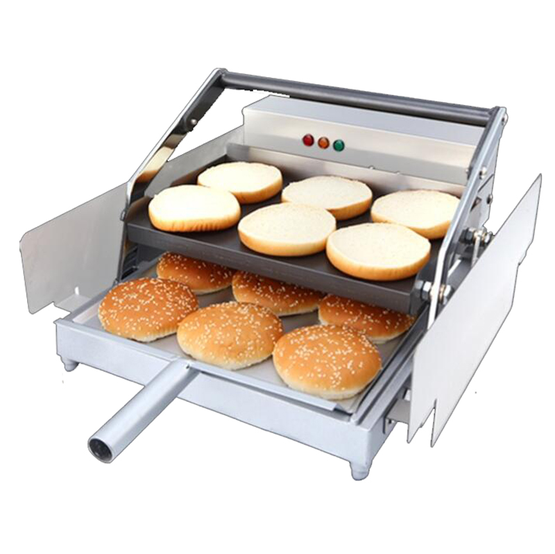 220V Bake Burger Machine Commercial Hamburger Baking Machine Double Layer Batch Bun Toaster 850W Y
