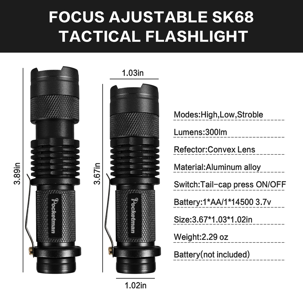 Ultra Bright XML-T6+Q5 Mini LED Flashlight Zoomable Tactical Torch Promotion Set