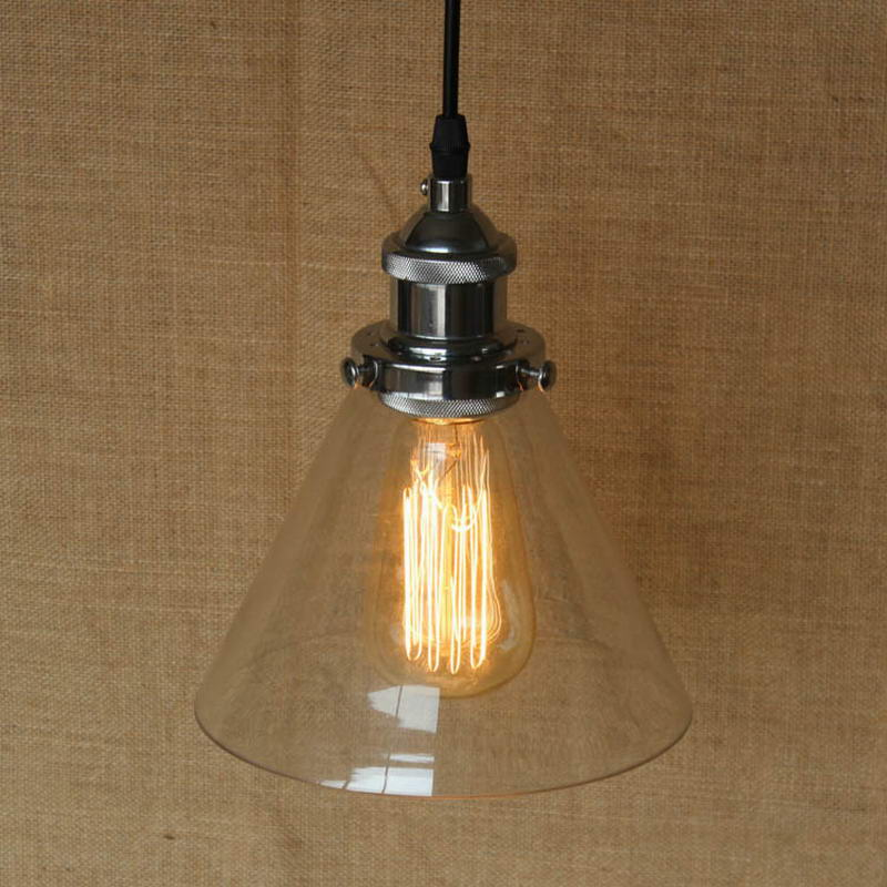 ФОТО Clear  Glass Horn Shade Pendant  Lamp with Edison Light bulb|Kitchen Lights and Cabinet Lights