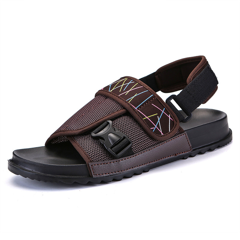 New Mens Slip On Casual Shoes Sandals Flat Heel Leather Slippers Loafers Fashion