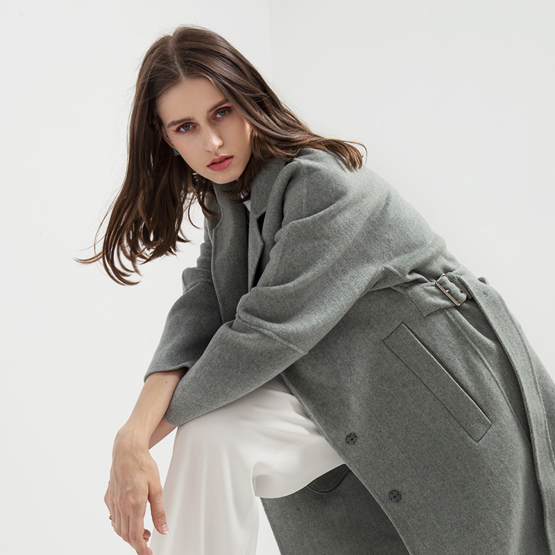 Double-sided no cashmere coat female long section 2018 new autumn and winter high-end popular women's wool coat