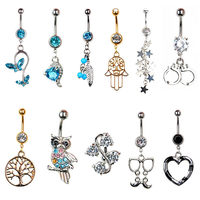 Us 0 72 35 Off 1x 316l Surgical Steel Navel Belly Button Ring Shellhard Rhinestone Tree Of Life Dangle Navel Rings Body Piercing Jewelry On