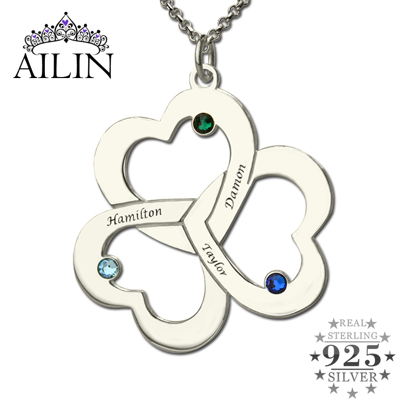 Personalized Triple Heart Name Necklace Silver Engraved Birthstone Name Plate Necklace Our Hearts Together Love Jewelry