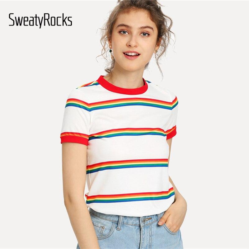 28c431b667b SweatyRocks Rainbow Stripe Print T-shirt White Short Sleeve Round Neck Tee  Women Summer Stretchy