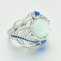 New Hot Blue Flower Moonstone Rings European Creative Vintage Ring Jewelry Woman Dropshipping 4
