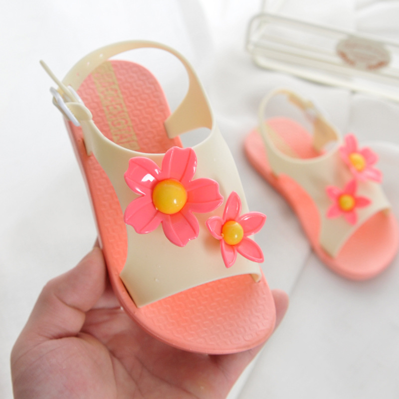 2019 New Kids Sandals For Girls Shoes Summer Beach Lovely Flowers Baby Girl Sandals Cute Kids Shoes For 1-5years Pink Orange