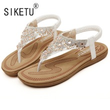Siketu 브랜드 2017 새로운 패션 여름 여성 보헤미아 샌들 라인 석 레저 비치 신발 35 40