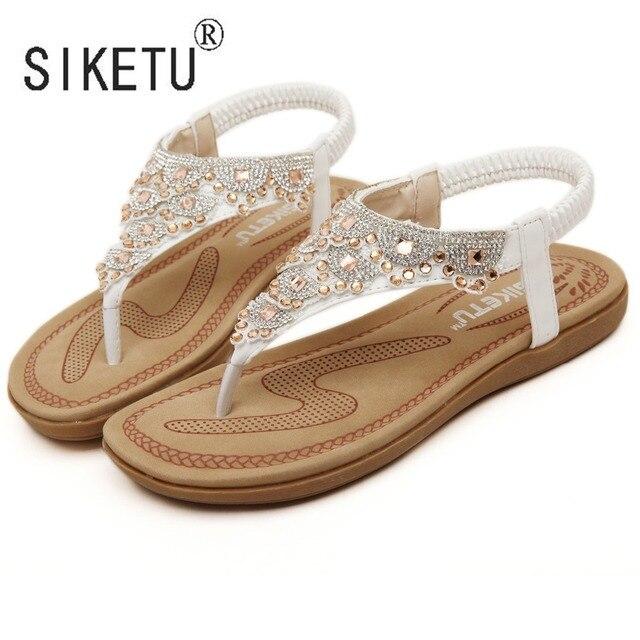Siketuブランド2017新しいファッション夏の女性ボヘミアサンダルラインストーンレジャービーチシューズ35 40