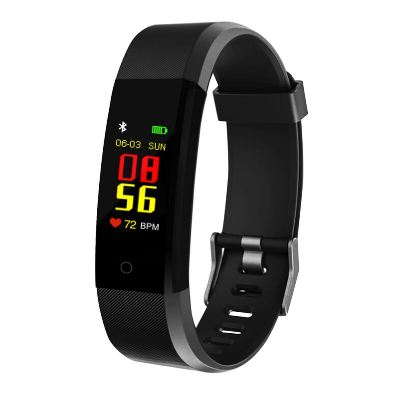 115plus Fitness Smart Wristbands Color Screen Sports Smart Bracelet Digital Clock Pressure Gauge Multi language Bluetooth Band-in Smart Wristbands from Consumer Electronics