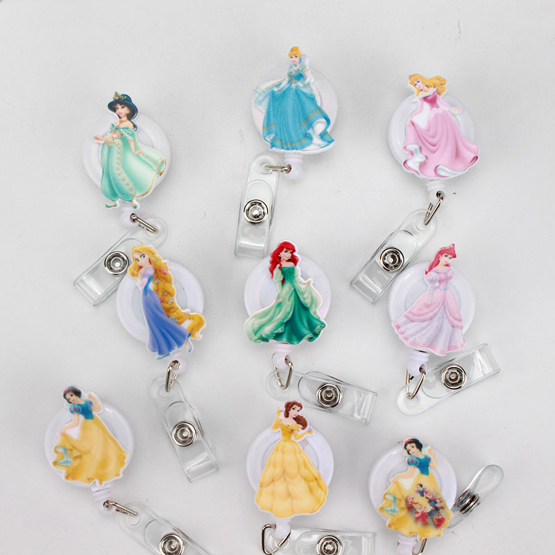 New Cartoon Princess Acrylic ID Badge Reel 2018 New Design Nurse Candy Color Design Bank Credit Card Holder K208