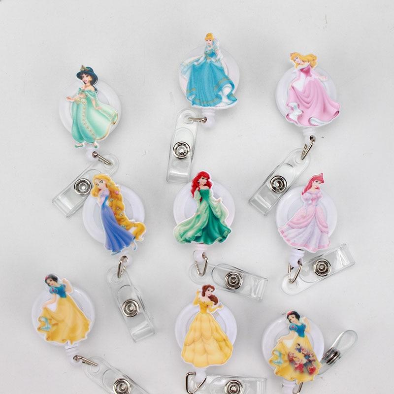 New Cartoon Princess Acrylic ID Badge Reel 2018 New Design Nurse Candy Color Design Bank Credit Card Holder K208