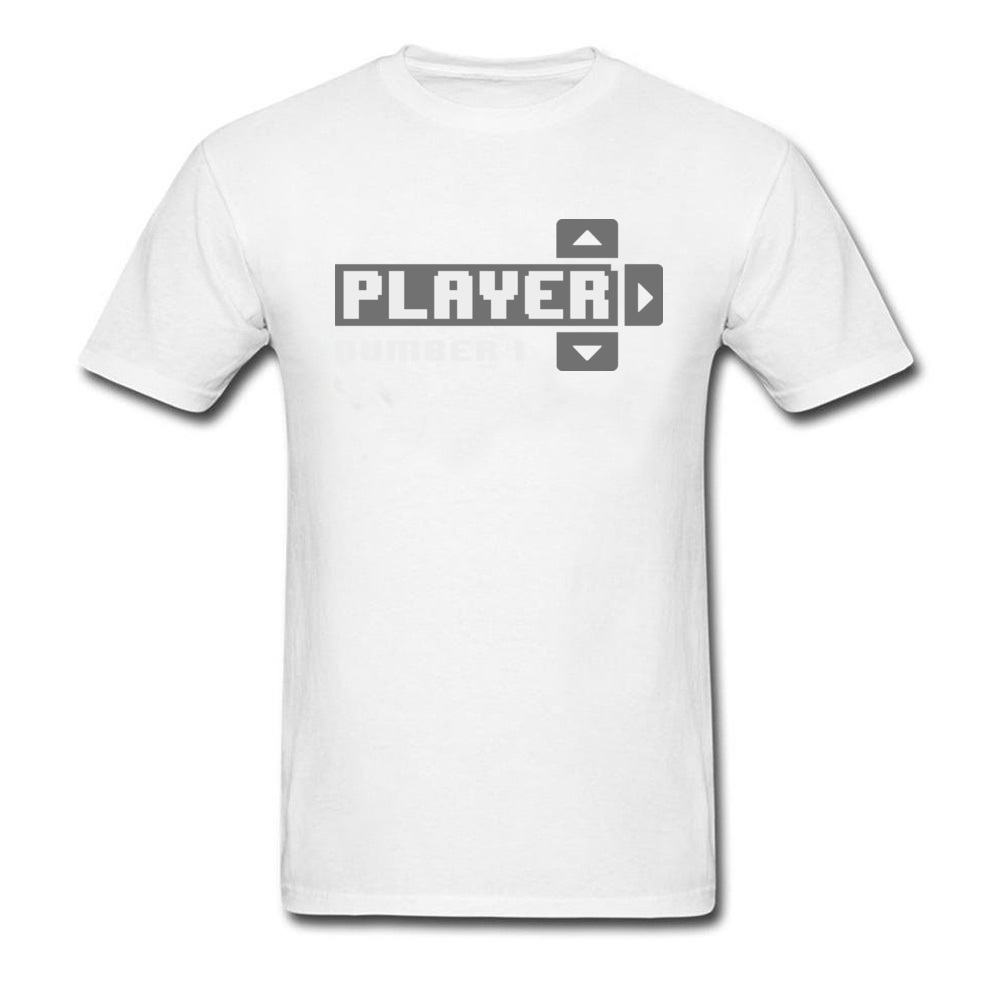 Player Number 1 All Cotton Tops T Shirt for Men Leisure T Shirt 3D Printed Prevailing O-Neck Tops Shirt Short Sleeve Player Number 1 white