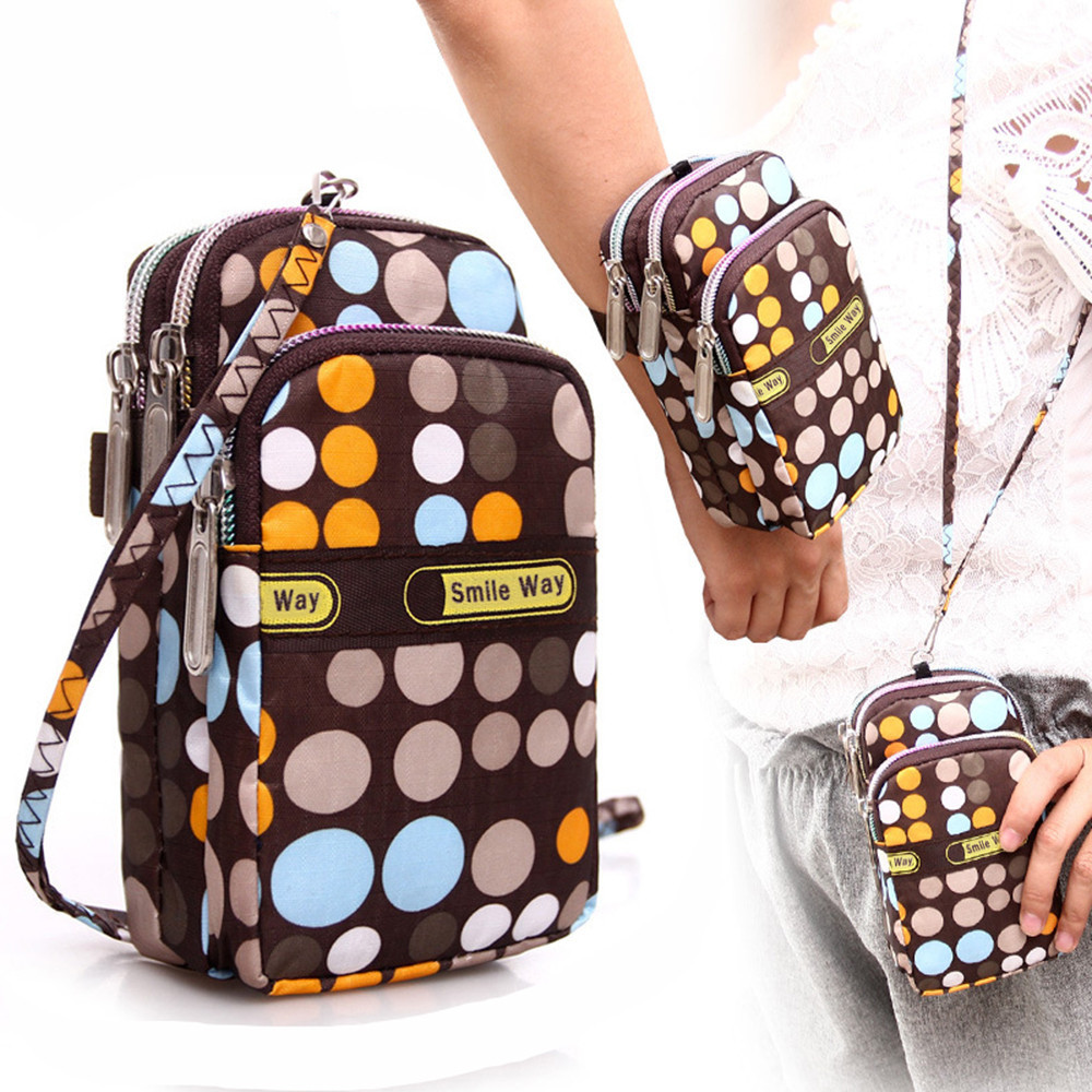 Women's Fashion Printing Zipper Shoulder Bag Mini Wrist