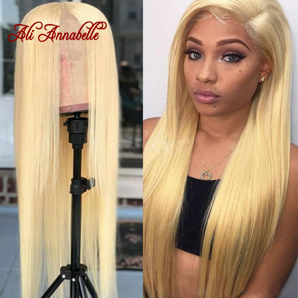 Blonde Lace Front Human Hair Wigs Peruvian Straight Pre Plucked 613 Lace Front Wig 13*6 Blonde Human Wig With Baby Hair