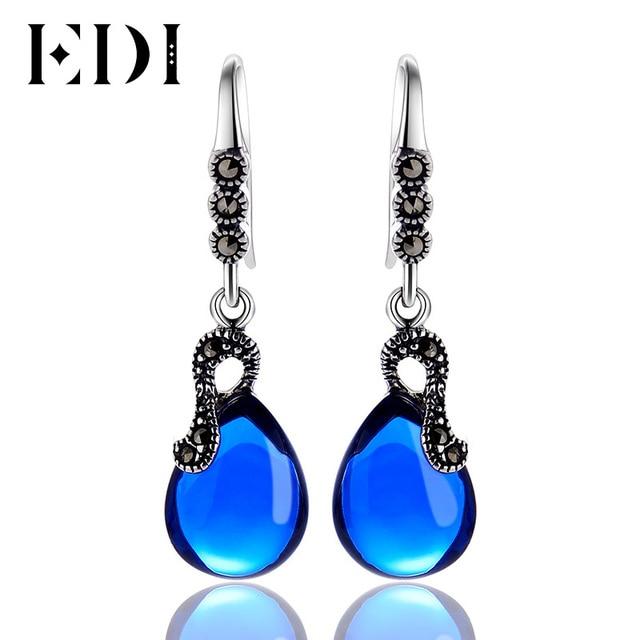 EDI Authentic 925 Sterling Silver Blue Sapphire Drop Earrings Women Vintage Sterling  Silver Fine Jewelry Earrings EH417 3a6be9fe44