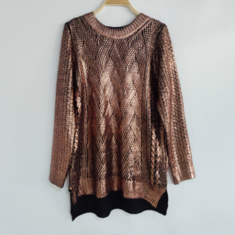 European Style Women Bronzing Sweater Round Neck Casual Golden/Silver Knitwear Sweaters Ladies Pullovers Sweaters AL88