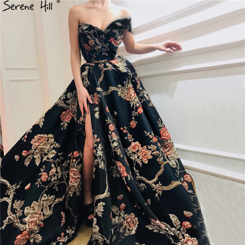 Navy Blue Embroidery Flowers Sexy Evening Dresses 2020 One Shoulder Sleeveless Evening Gowns Serene Hill LA60904Evening Dresses   -
