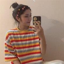 Rainbow Loose Short Sleeve T-Shirt Women's College Wind Top Short Sleeve Korean Punk T-shirt Ins Chic Top For Women Casual все цены
