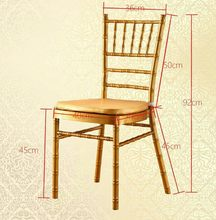 250pcs shipping by sea Metal White Gold Silver Chiavari Wedding Chair With Cushions(China)