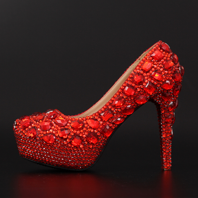 2017 Red Crystal Ultra High Heels Diamond Wedding Shoes Waterproof Princess Bride Nightclub Performances Women's Dress Shoes 39 2015 new high heeled shoes sexy shoes fine with waterproof ultra high heels nightclub 16cm red wedding shoes