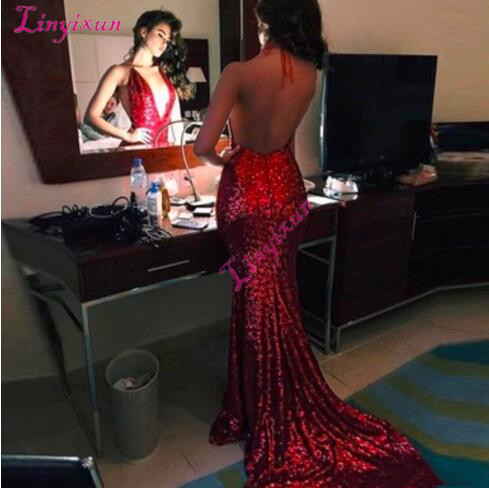2019 Sexy Halter Neck   Prom     Dresses   Backless Sweep Train Mermaid Formal Evening Occasion   Dresses   Cheap Hot Sale