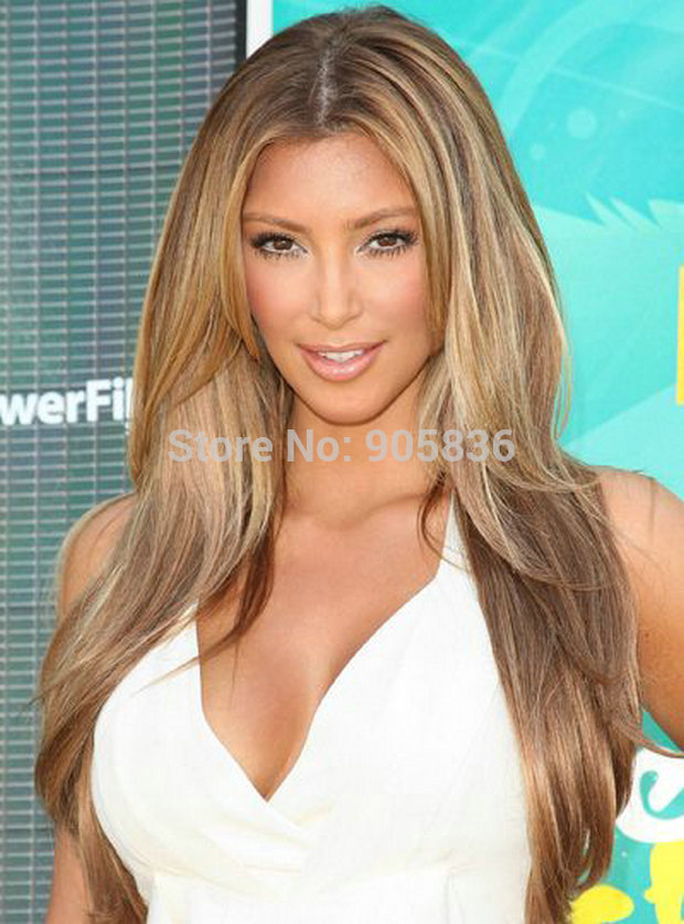 Kim kardashian medium brown highlight blonde wavy human hair half kim kardashian medium brown highlight blonde wavy human hair half wigs in human hair lace wigs from hair extensions wigs on aliexpress alibaba group pmusecretfo Choice Image