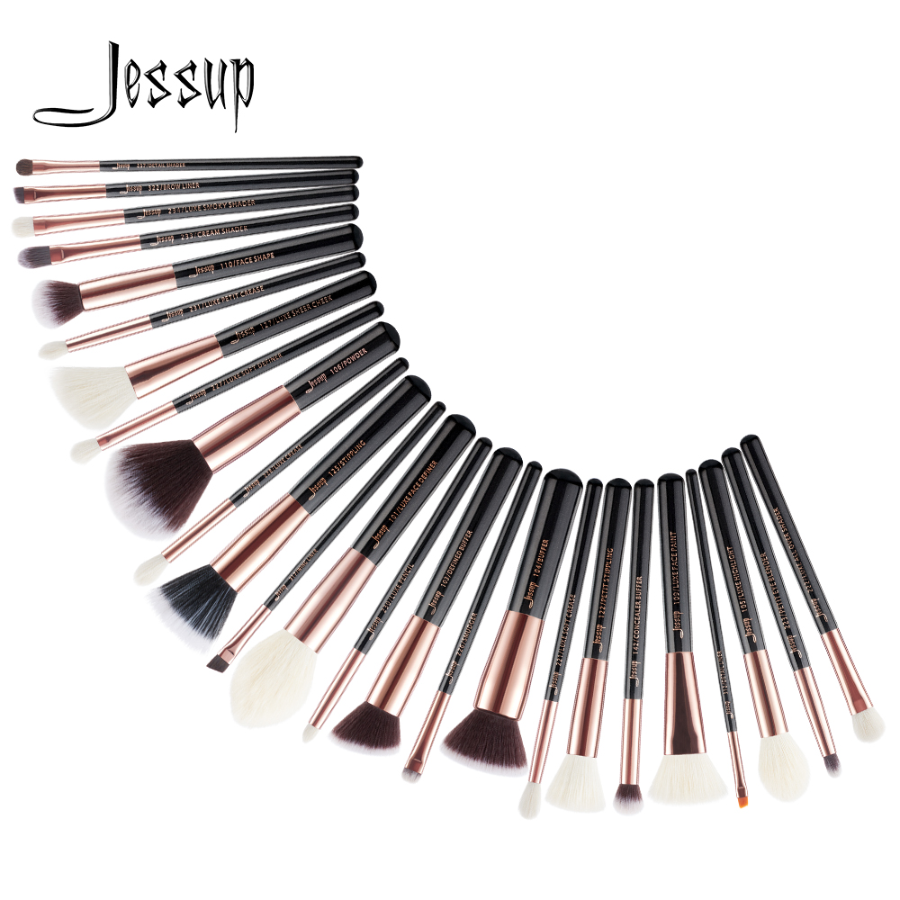 Jessup Beauty 25pcs Perii de machiaj Set maquiagem profissional completa Fundația Eyeshadow Contur Highlighter Perii T155