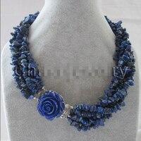 FREE shipping>>> >>Beautiful 17 6row natural lapis lazuli chip necklace jaffaite flower GP clas