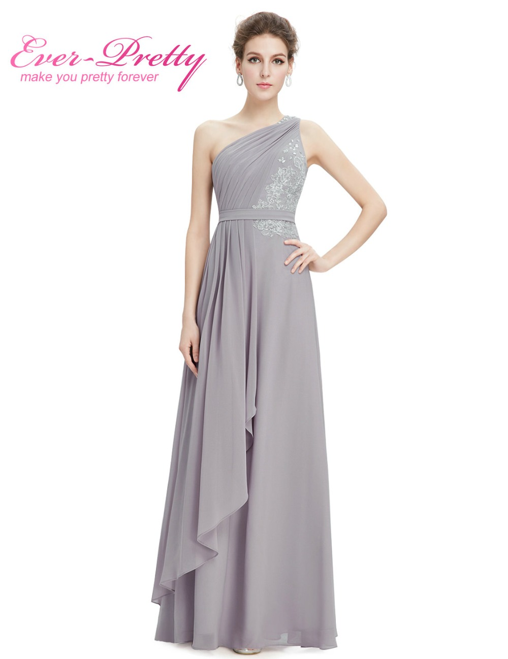 Buy simple cheap long bridesmaid dress for Gray dresses for a wedding