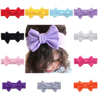 7 2inches Newborn Baby Headband Elasticity Hair Accessories Turban Solid Color Big Bow Toddler Infant Hairband