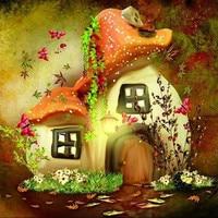 Diamond Mosaic Fairy Tale Mushroom House Picture Diy 5D Diamond Painting Cross Stitch Sets Embroidery Beading
